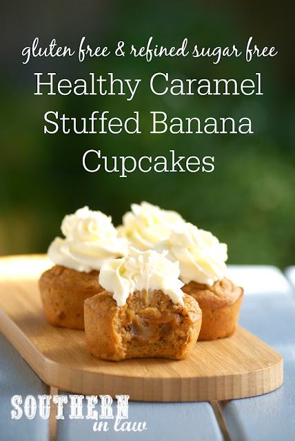 Sugar Free Caramel Stuffed Banana Cupcakes Recipe | low fat, gluten free, healthy, sugar free, high protein, clean eating friendly, low carb