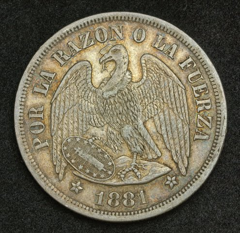 Chile Eagle Silver Peso Coin Mint Year 1881 World