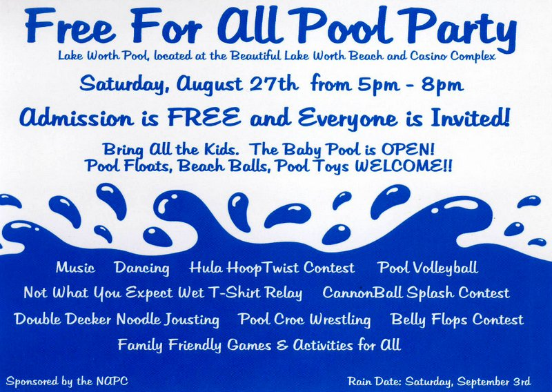 free pool party this Saturday 8-27-16