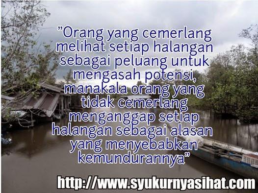 Kata-Kata Hikmah Bagaimana Menghadapi Halangan, gambar sampan, rumah dan air banjir