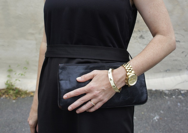 Won Hundred black dress, Bauble Bar Bracelet, pyramid bracelet, black leather clutch