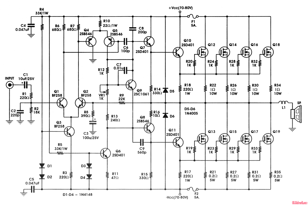 400w mosfet amplifier circuit with irfp448