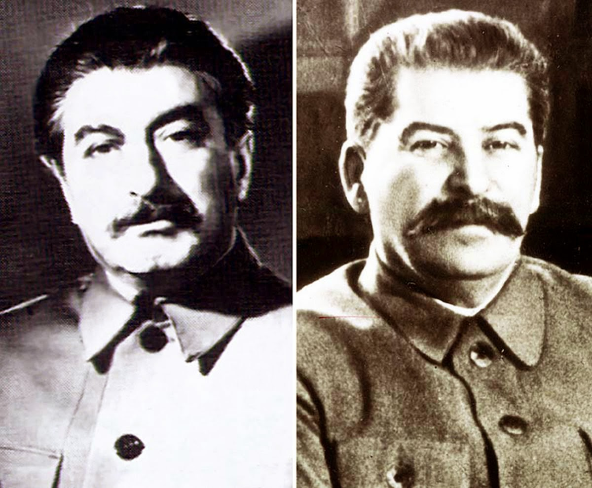 Felix Dadaev (left) in the 1940s and the real Joseph Stalin (right).