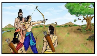 Dronacharya training Kauravas and Pandavas