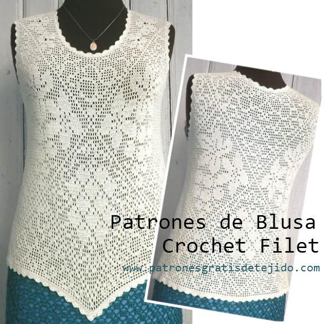 Patrones de Blusa en Crochet Filet / con moldes | Crochet y Dos ...