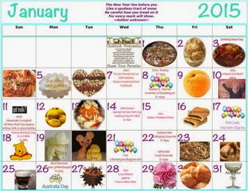 January Food Celebrations Clickable Calendar