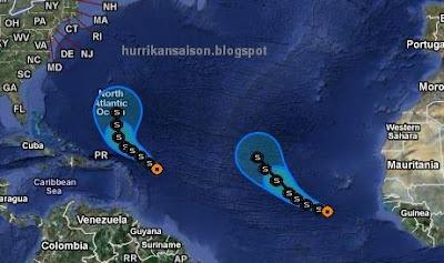 OPHELIA und PHILIPPE sollten uns keine Sorgen bereiten, Ophelia, Philippe, Vorhersage Forecast Prognose, Verlauf, aktuell, Atlantik, September, 2011, Hurrikansaison 2011,
