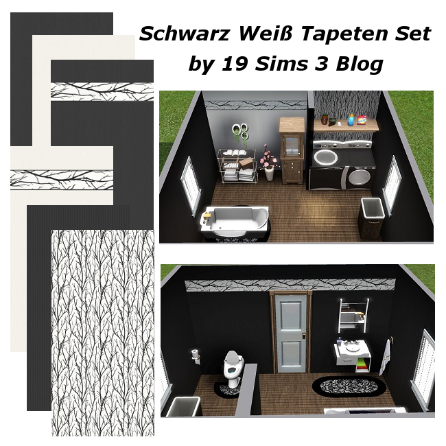 19 sims 3 blog schwarz wei tapeten set. Black Bedroom Furniture Sets. Home Design Ideas