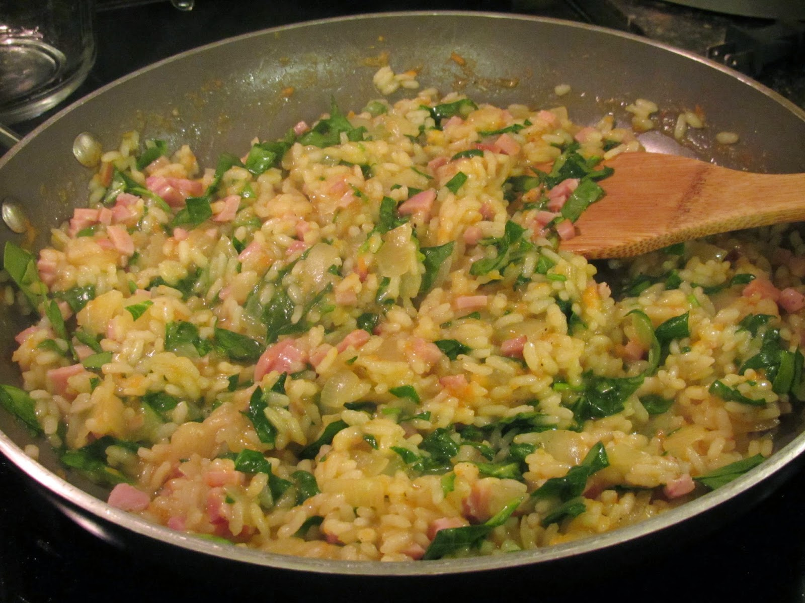 Gluten Free Cheesy Risotto with ham, spinach and parmesan