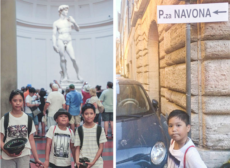 By the Statue of David (Pisa), at Piazza Navona (Rome), The World is a Book, Let's Read