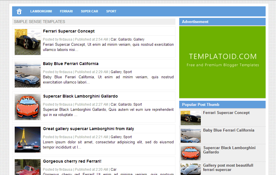 Template Blogger Simple Sense