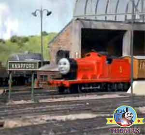 Thomas and friends train Henry Gordon and James the red engine Sodor station passenger coachers