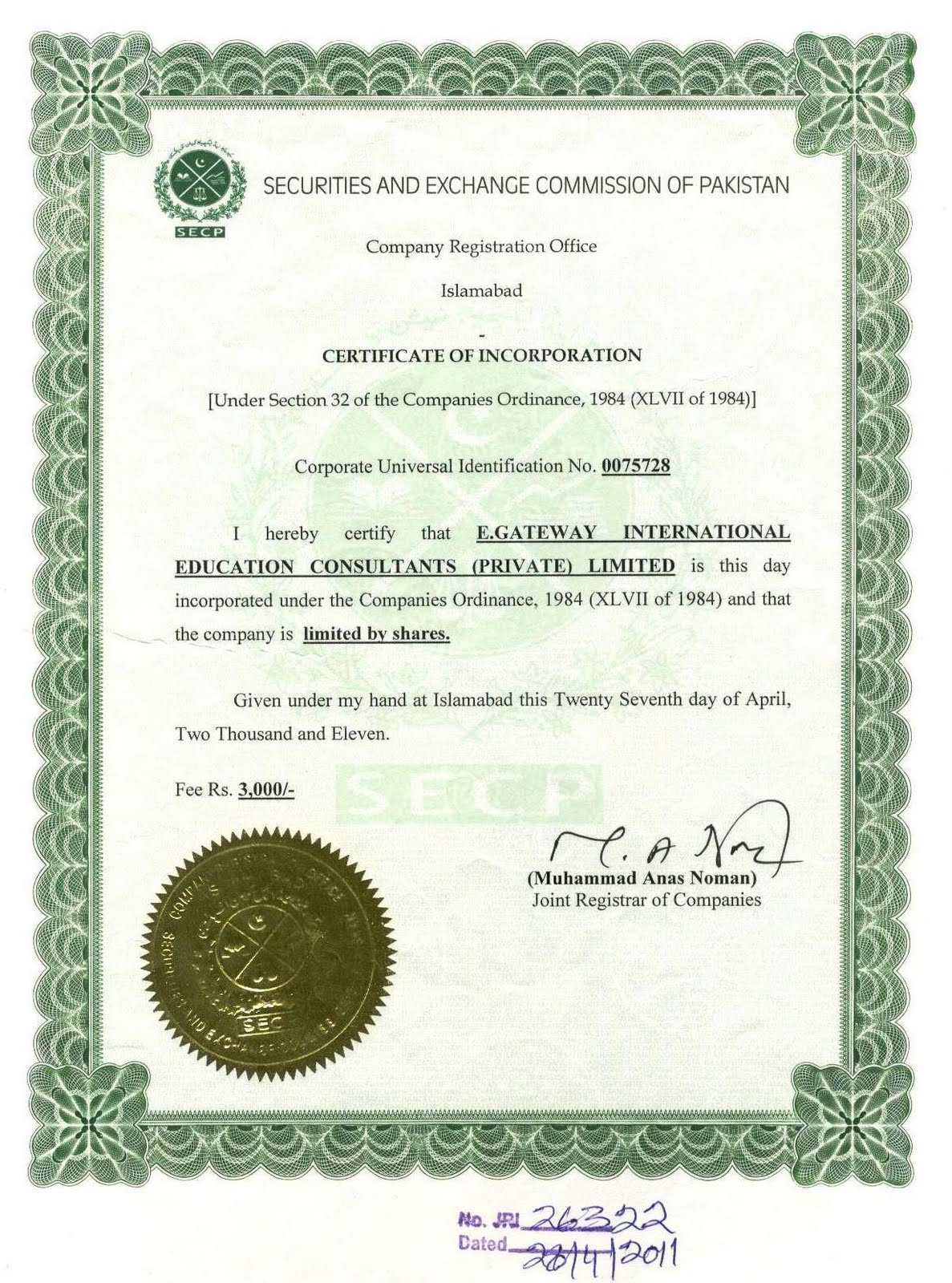Egi education consultancy certificate of incorporation certificate of incorporation securities and exchange commission of pakistan xflitez Image collections