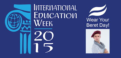 International Ed Week 2015 poster, image of someone wearing a beret.  Text: Wear Your Beret Day!