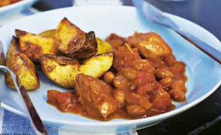 Barbecue Pork with Beans and Potato Wedges