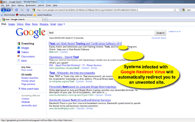 google redirect virus solution