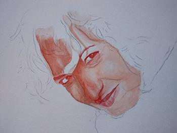 Definiendo los rasgos de un retrato en acuarela