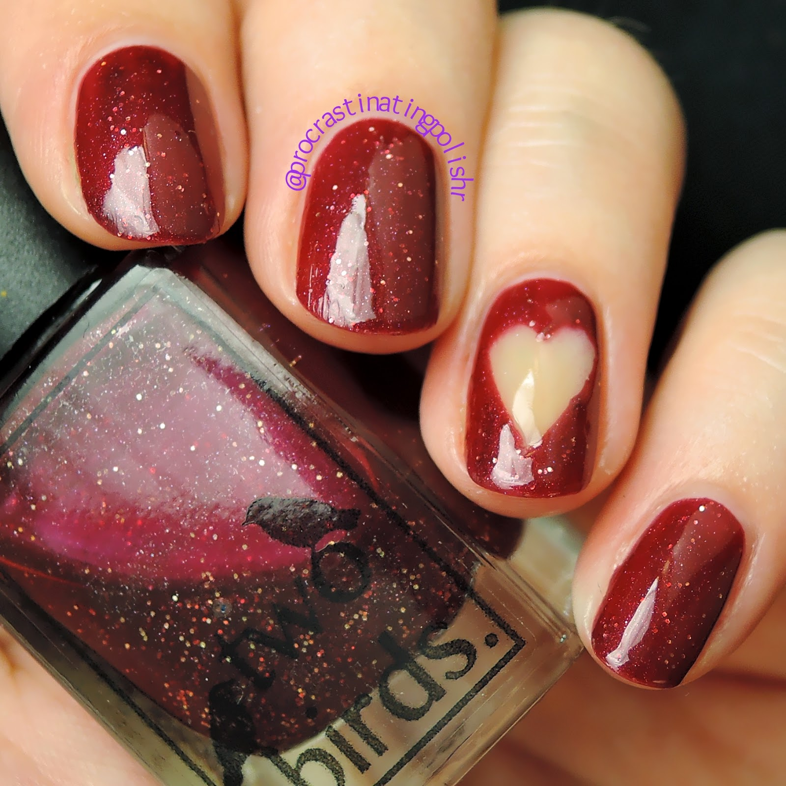 Two Birds Lacquer - Xmas Love | negative space nail art