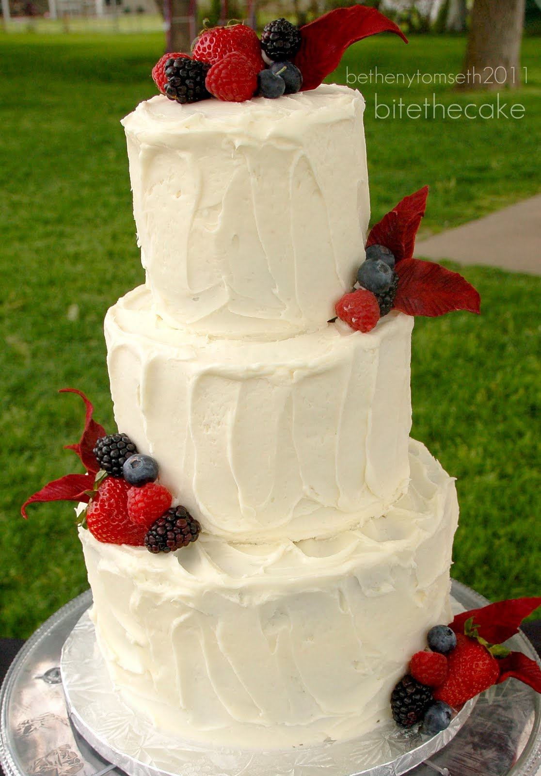 Red Velvet W Cream Cheese Buttercream Garnished Fresh Berries And Gumpaste Leaves 8 6 4 Tiers
