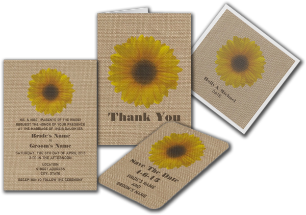 Burlap Inspired Sunflower Wedding Invitation