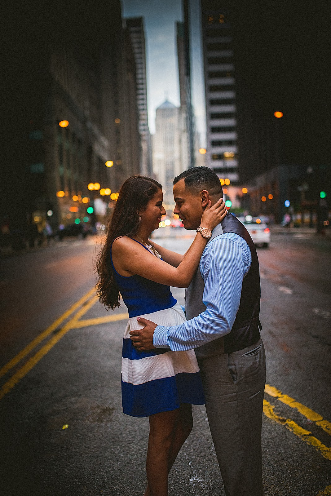 Chicago LaSalle Street Engagement Photo