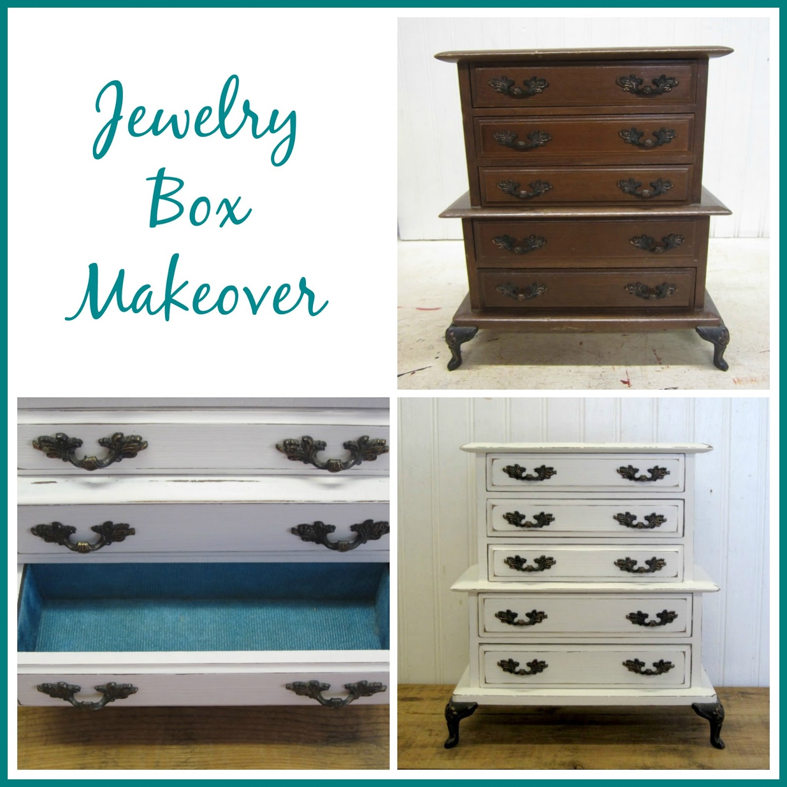 Simply country life jewelry box chalk paint makeover for Old jewelry box makeover