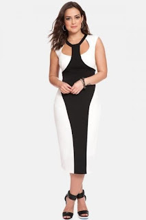 ELOQUII Colorblock Midi Dress (Plus Size) (Shoppersfeed.com Exclusive)