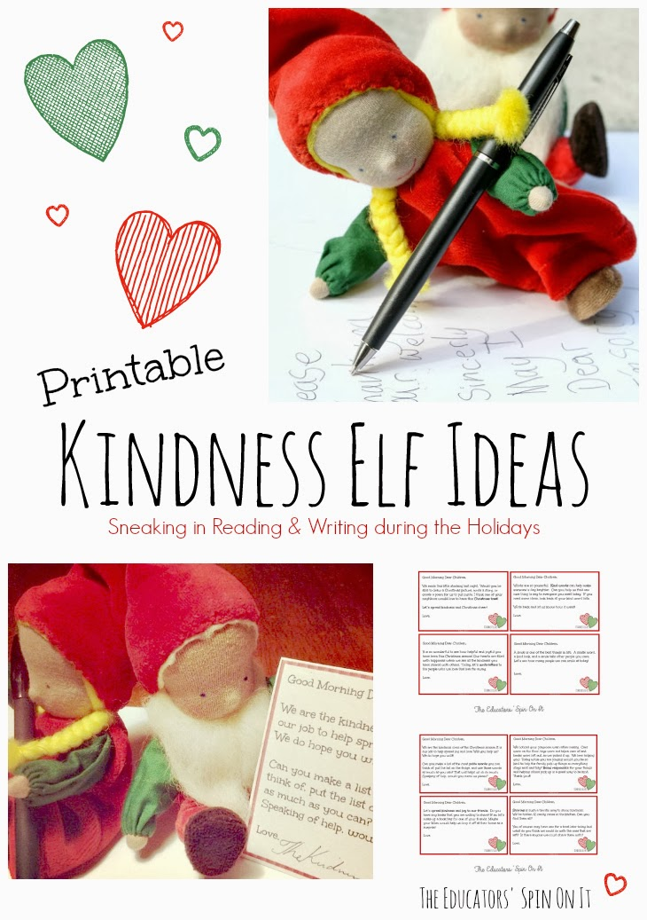 Kindness Elves Free Printables and Ideas for adding in Reading and Writing during the Holidays from The Educators' Spin ON It