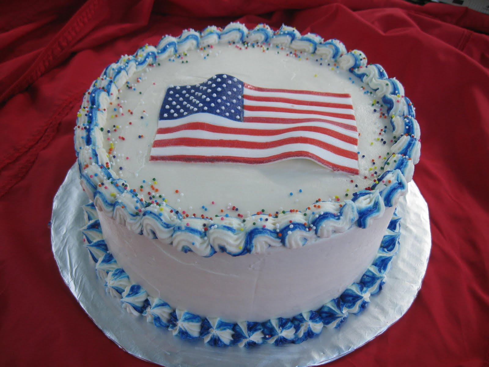 Red, White and Blue cake - Red Velvet cake with buttercream and a hand ...