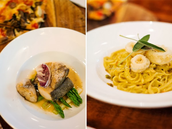 Left: Seared cod fish with grilled spring onions and asparagus in a fish and herb broth | Right: Pistachio spaghetti with fried calamari