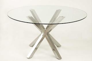 Mesa acero y cristal redonda