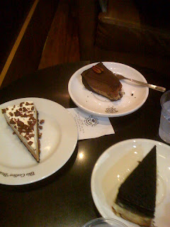 coffee bean and tea leaf turtle pie, toblerone cheesecake and triple decker cheesecake