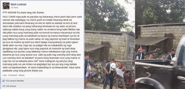 Photos of Policeman Allegedly Pointing and Shooting Gun at Civilian in Payatas During Checkpoint Goes Viral