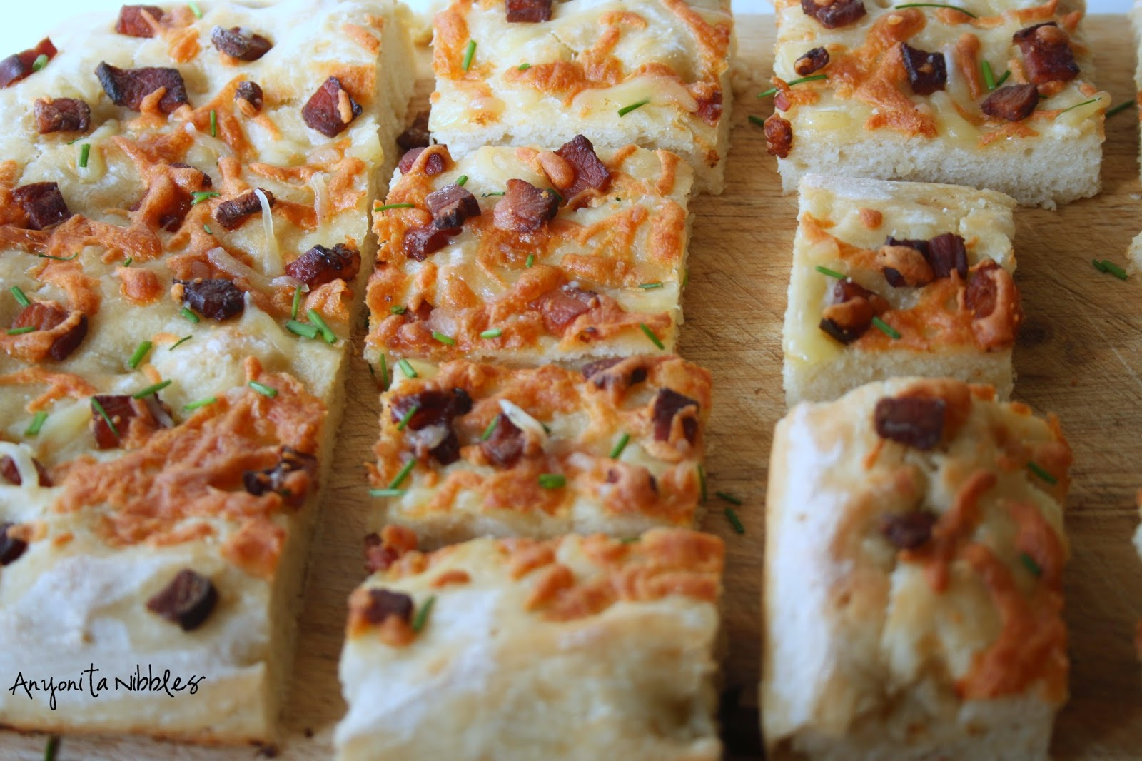 Cheese and bacon potato focaccia with chives from Anyonita Nibbles