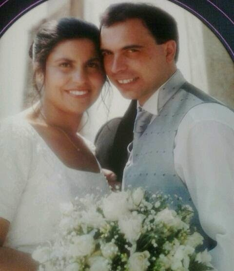 Mari Carmen Calviño con su esposo.