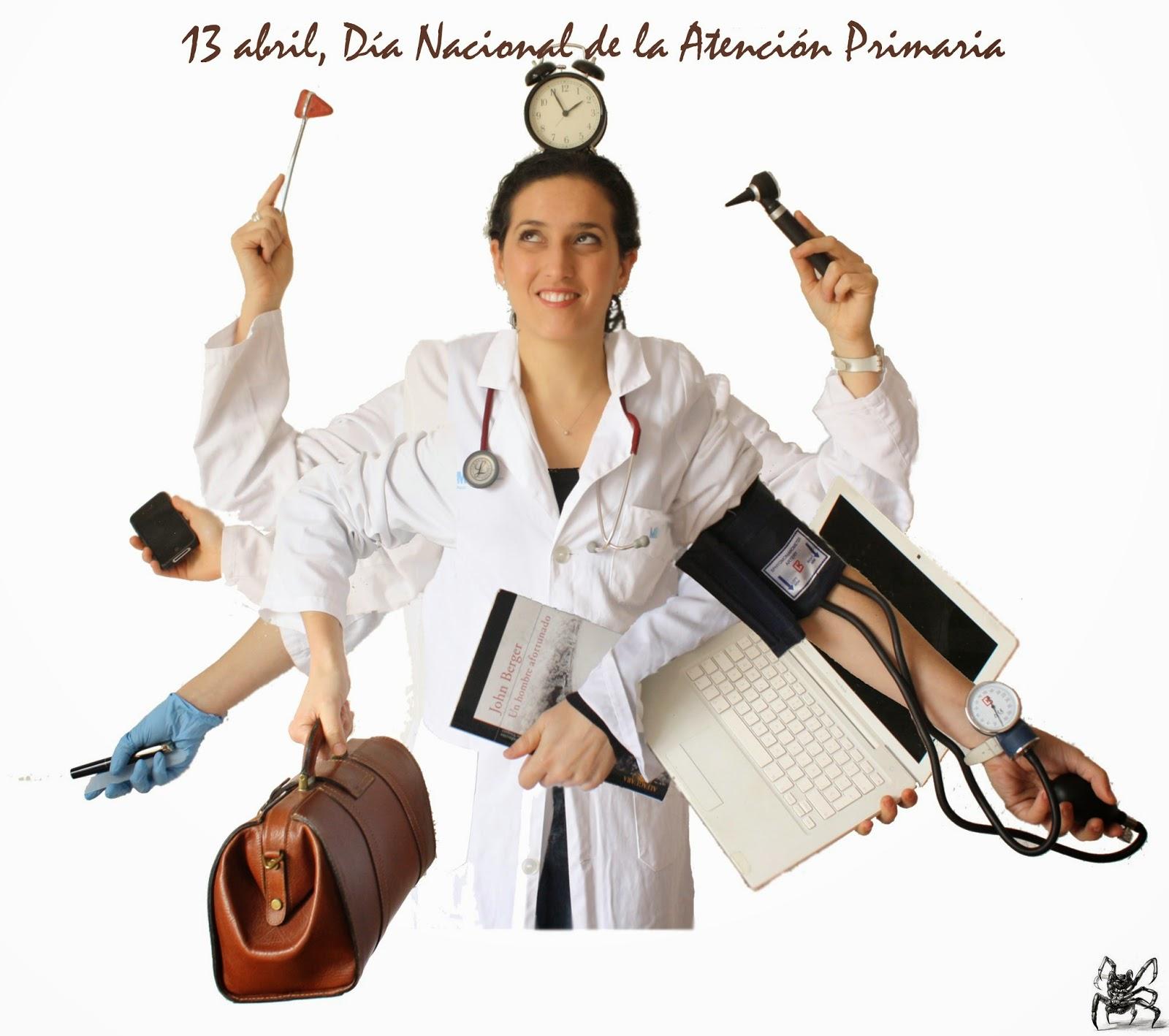 Una mujer en bata blanca con muchos brazos llevando en cada mano instrumental médico