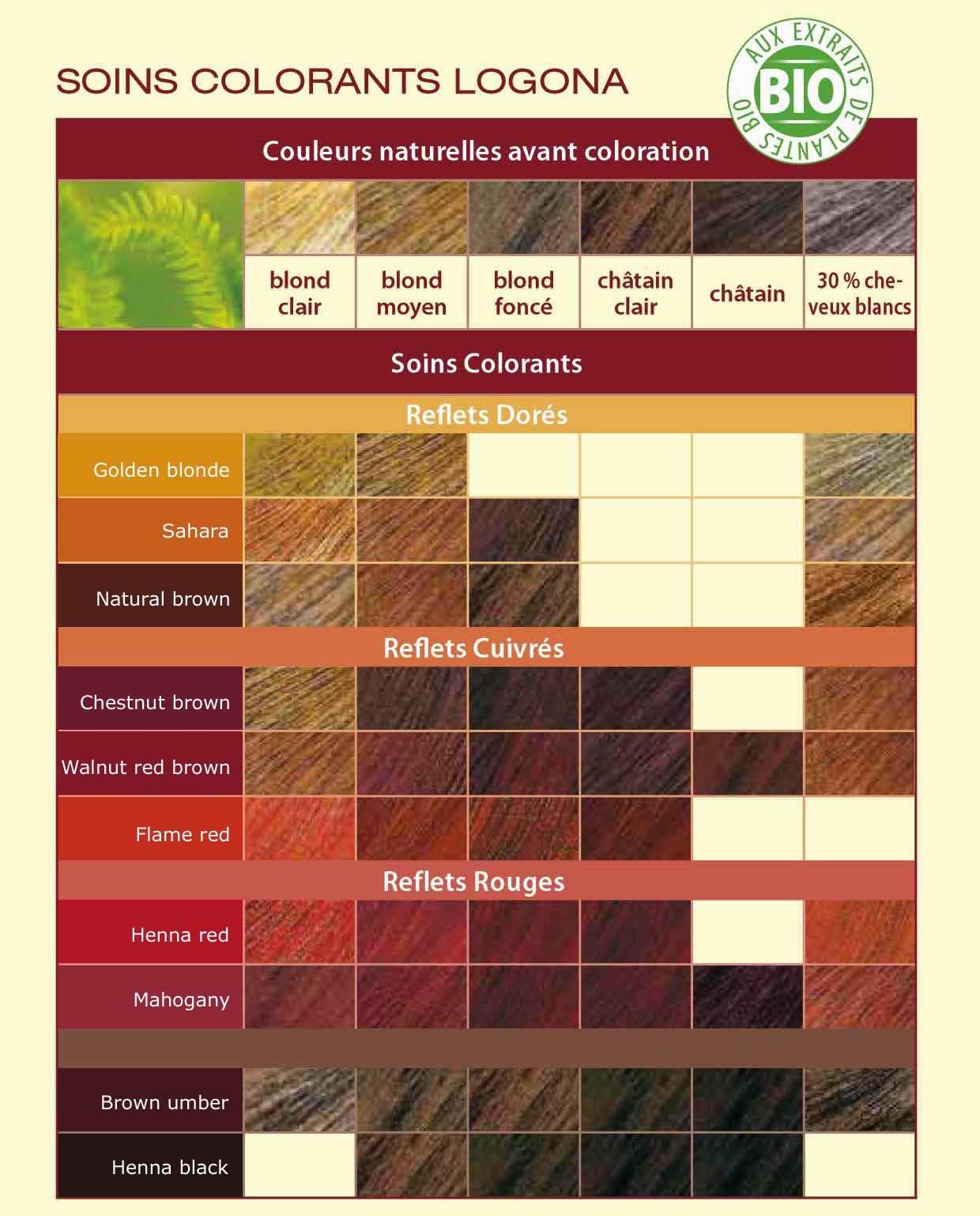 palette de couleur - Coloration Logona Chataigne