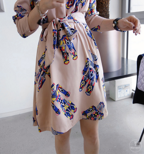 Multicolored Belted Dress