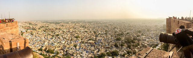 Looking down on all the blue houses in Jodhpur from the top of the Mehrangarh Fort in Rajasthan, India.