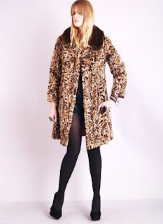 Vintage 1950's leopard print princess coat with brown mink fur collar.