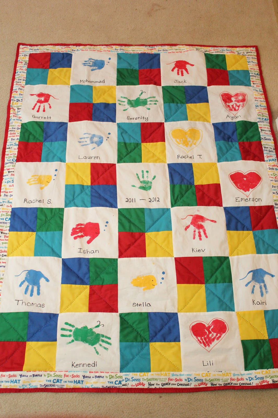 Classroom Art Ideas ~ Clever faeries class art auction handprint quilt