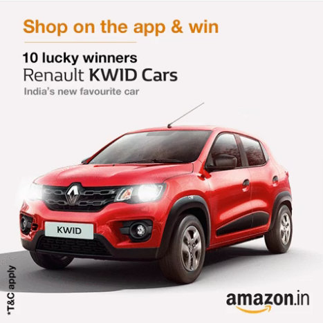 Lucky customers stand a chance to win a Renault Kwid car!