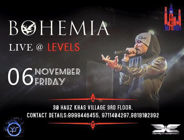 BOHEMIA Live in Delhi on November 6 at Levels - pesa nasha pyar