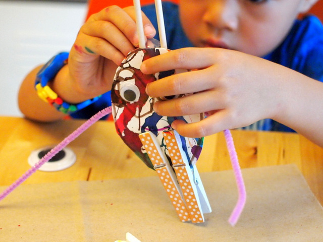 decorate monster sculptures with preschool kids