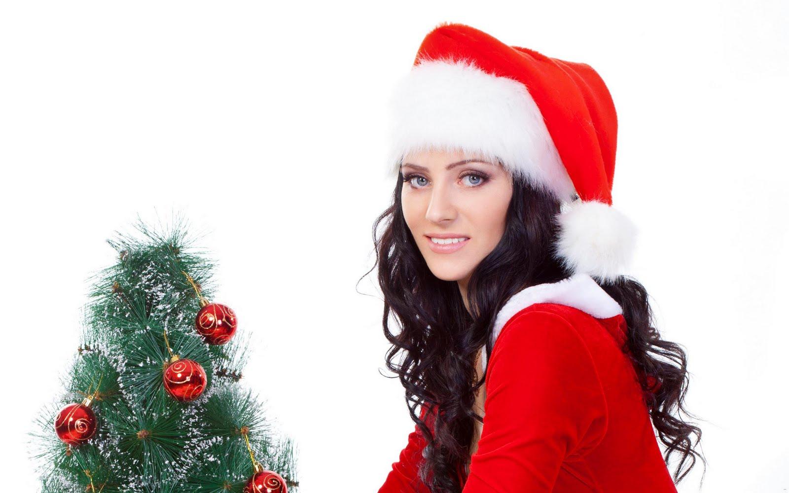 Christmas tree with santa girls wallpapers taste wallpapers