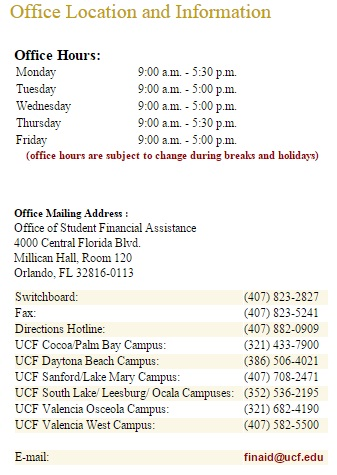UCF Office Location and Information