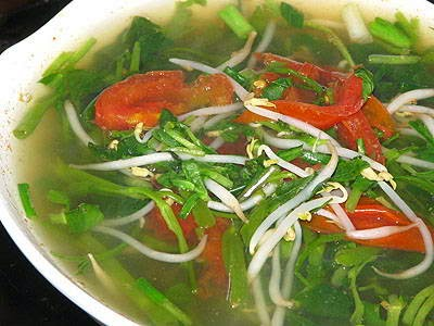 Ong Choy with Tamarind Soup - Canh Chua Rau Muống