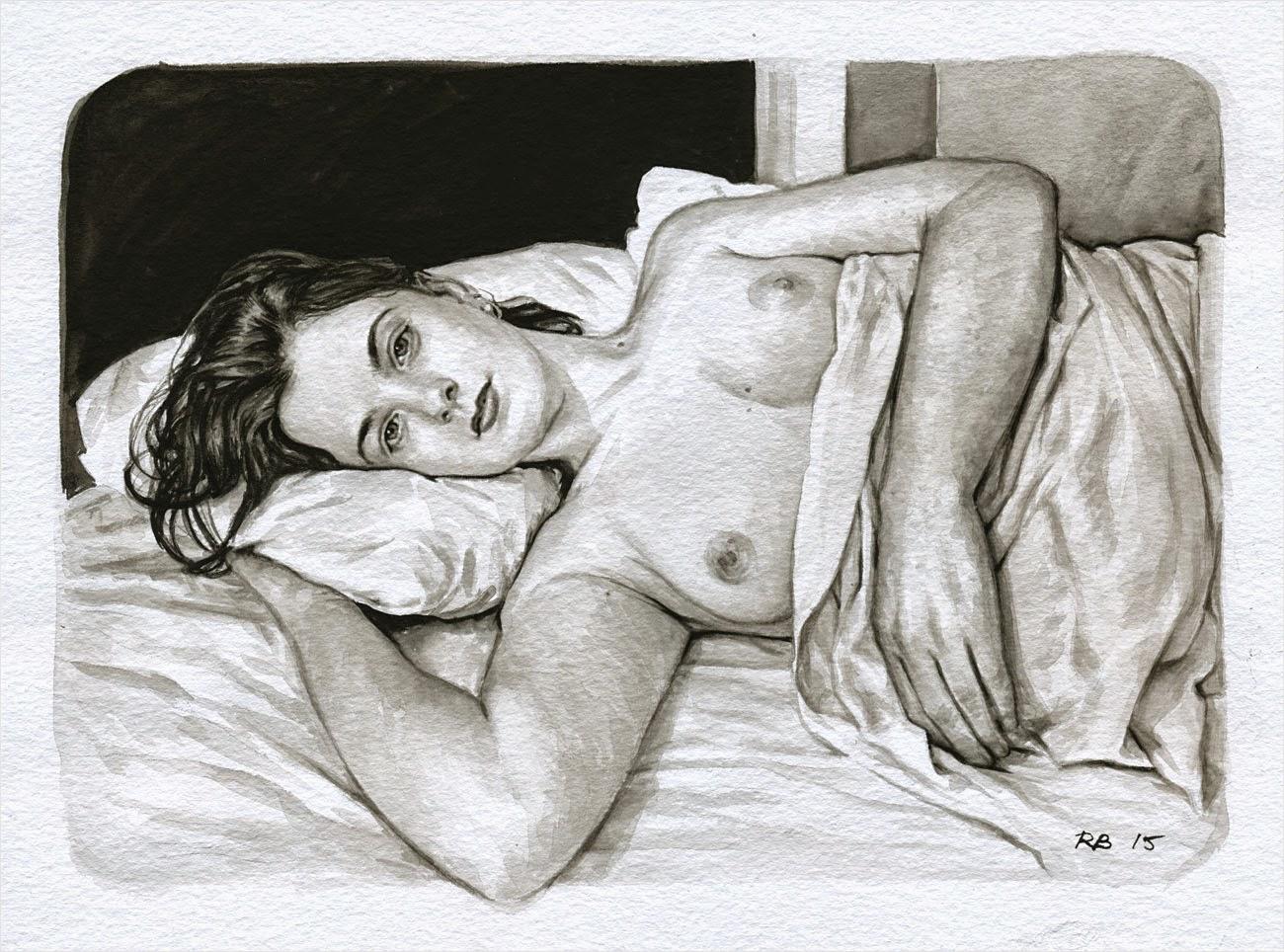 René Bui - Etude de nu à l'aquarelle 150130 - 2015