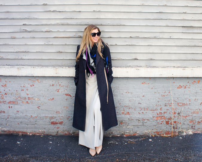 COS Dark Navy and Camel Melange Tailored Wool Coat