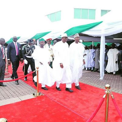 Buhari,Saraki and Osinbajo at Nigeria 55th independence day celebrations